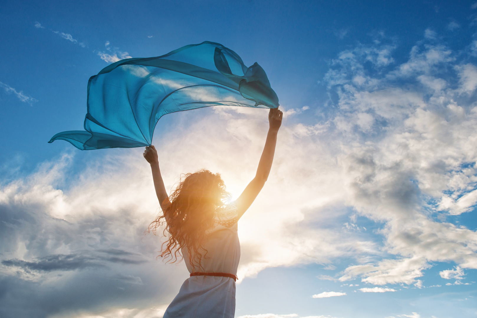 woman sky scarf
